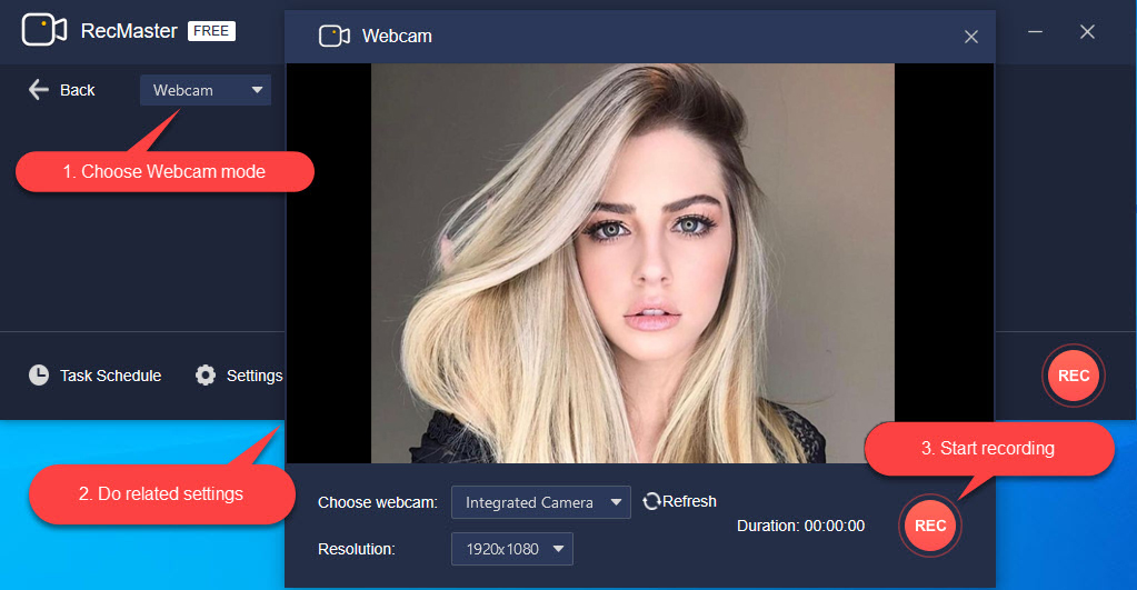 record webcam video on Windows 10 with RecMaster