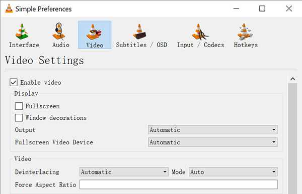 VLC Capture Windows Screen - Video settings