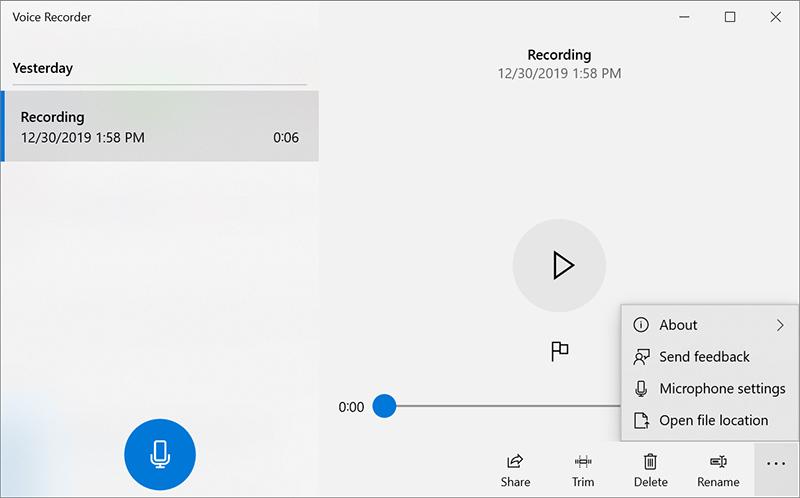 Windows Voice Recorder Records Sound