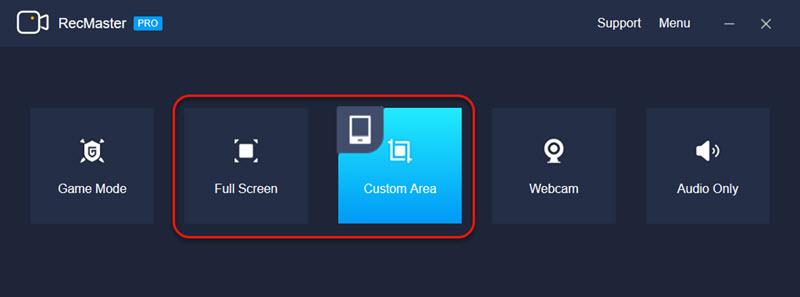 RecMaster Full Screen & Custom Area Modes
