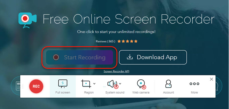 main interface of apowersoft free online video recorder