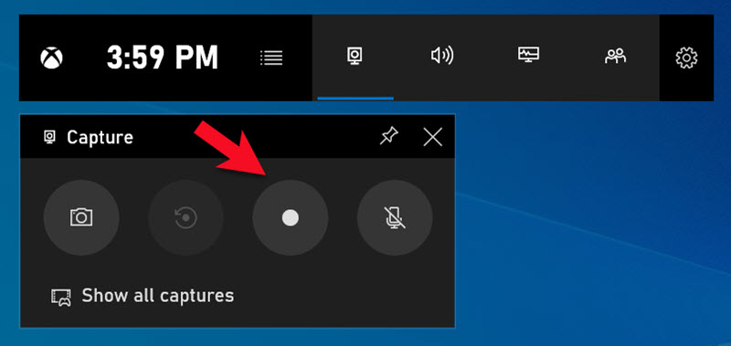 Game bar floating bar for Windows 10 Capture