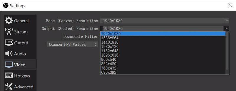 OBS Studio HD Screen Recorder - Resolution Settings