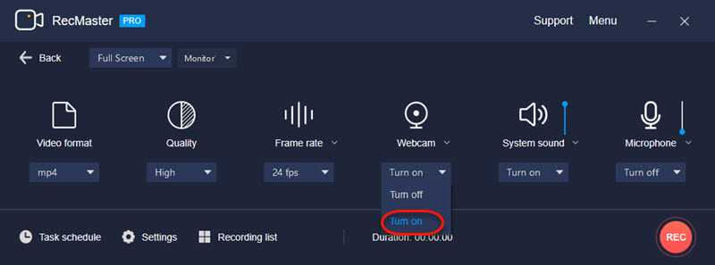 Turn on Webcam on RecMaster for facecam and screen capture