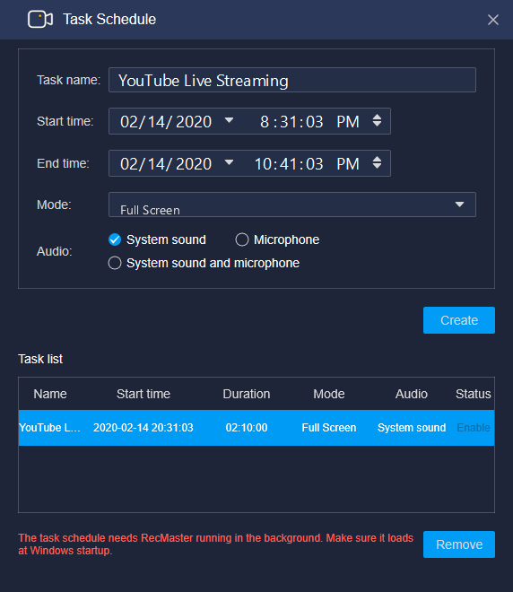 RecMaster Creates Scheduled YouTube Capture