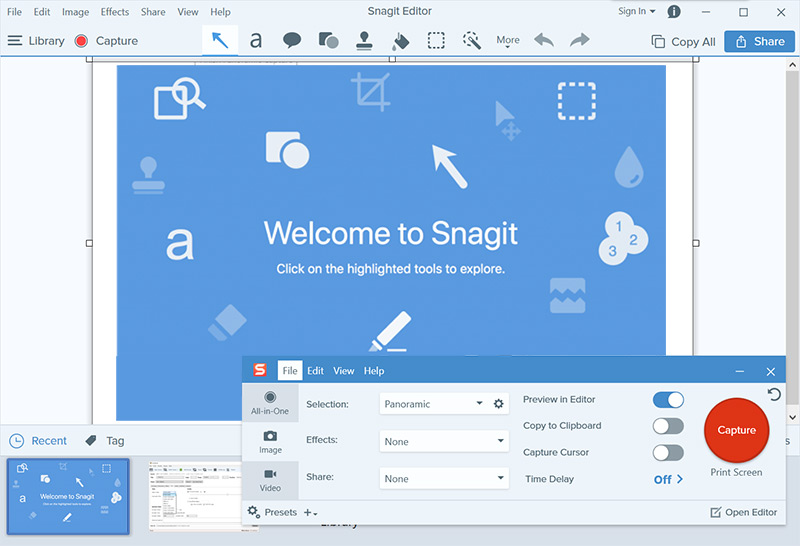 Record screen at 1080p with Snagit