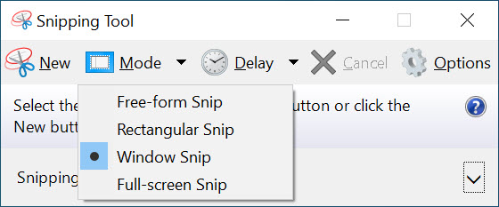Screen Capture Software - Snipping Tool