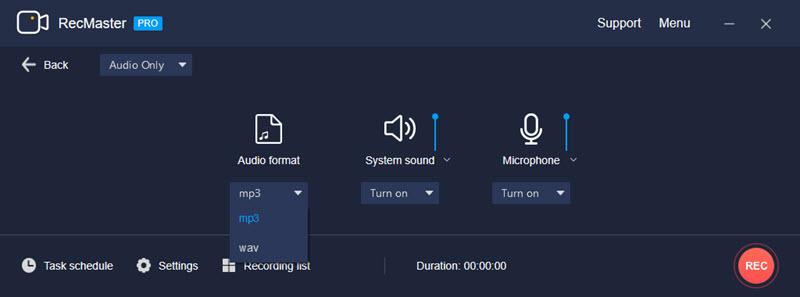 RecMaster Records MP3/WAV Audio on Windows 10