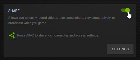 Enable Nvidia screen recorder