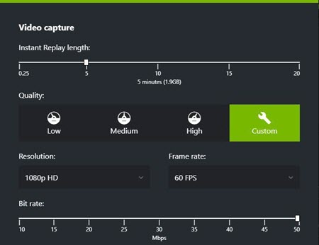 Video capture settings of Nvidia share