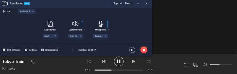 RecMaster streaming audio recording