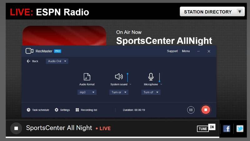 Record ESPN radio programming