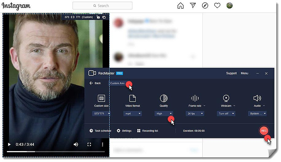 Record Instagram Video with RecMaster