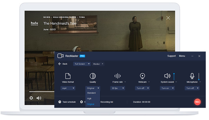 record Hulu with screen recorder