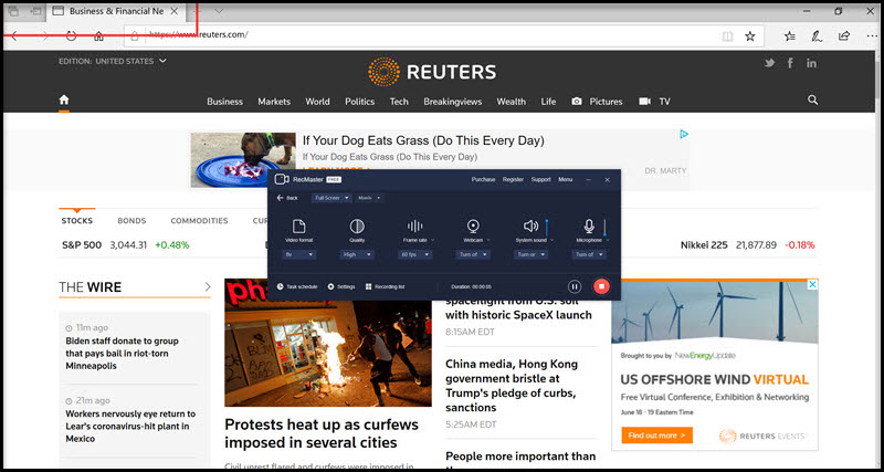RecMaster records reuters tab