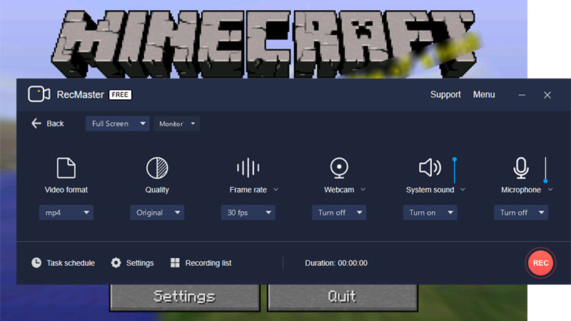 Record  Minecraft with RecMaster Full Screen Mode