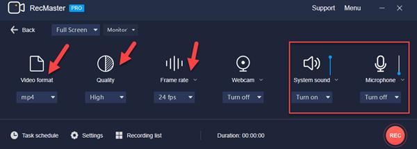 Settings for remote desktop capture