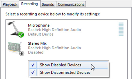 how to enable Stereo mix on your computer