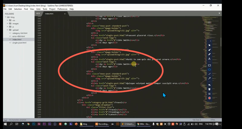 Udemy course annotation
