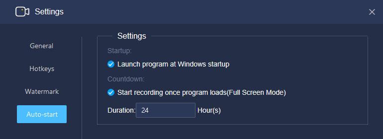 Auto start background recording at Windows start