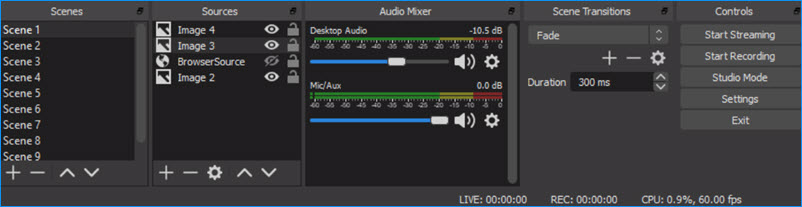 OBS Settings for Scenes/Sources