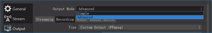 Two output modes for recording