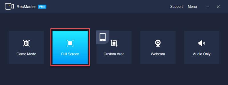 Choose Full Screen Mode of RecMaster