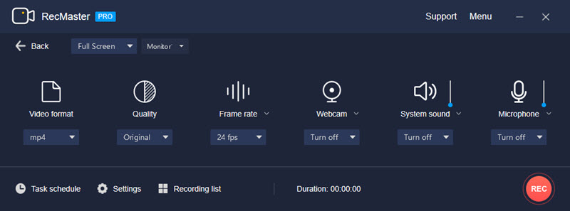 RecMaster's Full-Screen Mode Settings