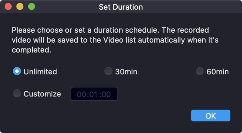 Duration Feature of RecMaster on Mac Version