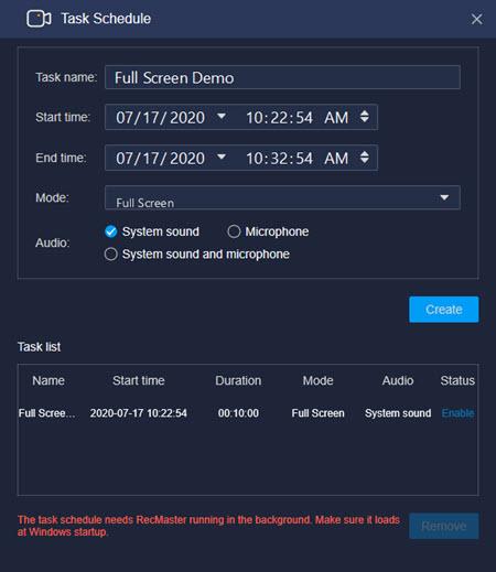 Full Screen Task Schedule