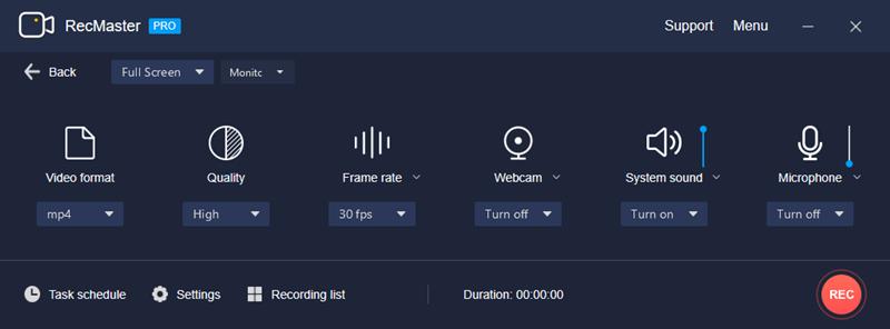 RecMaster Full-Screen Mode Settings