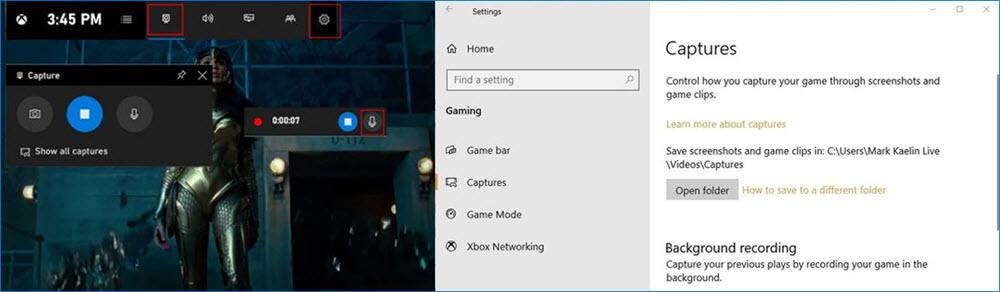 Game Bar overlay and settings