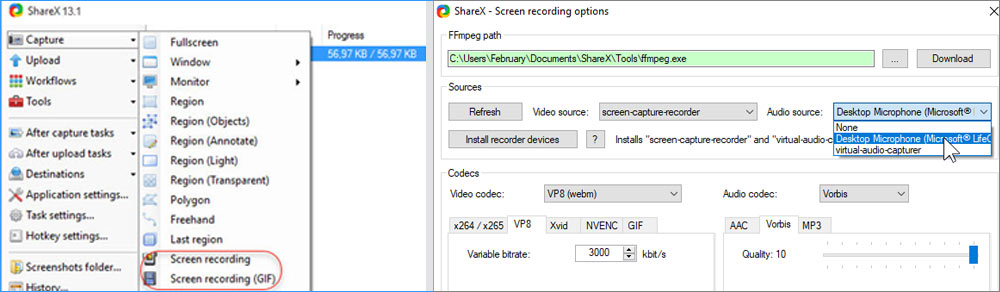 ShareX free screen recorder for Windows 10 and settings