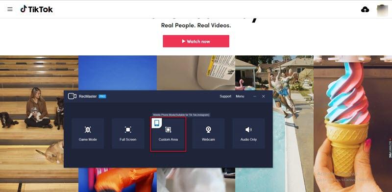 choose custom area for TikTok screen recording