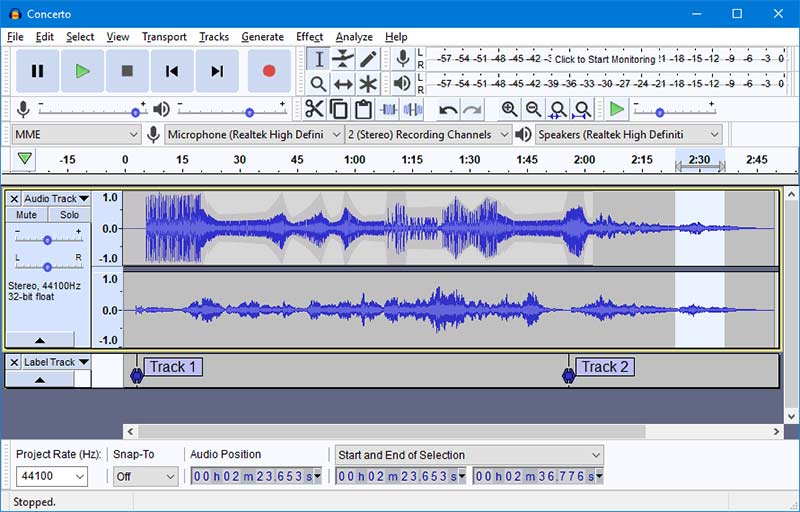 Audacity Record/Edit Multiple Tracks