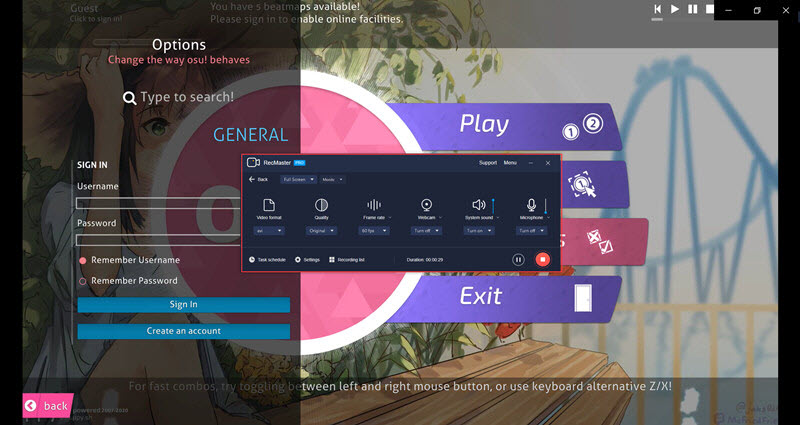 RecMaster Captures OSU! – In-Game Performance