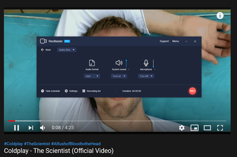RecMaster Records Coldplay's The Scientist from YouTube