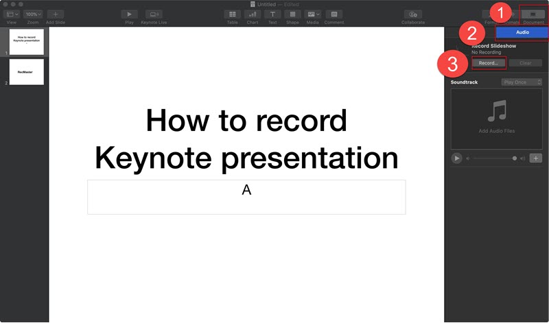 find out the recording function of keynote