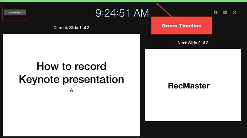 recording interface of keynote