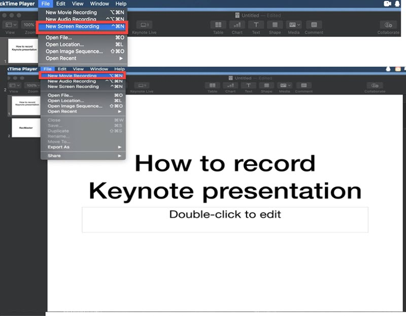 record keynote with quicktime