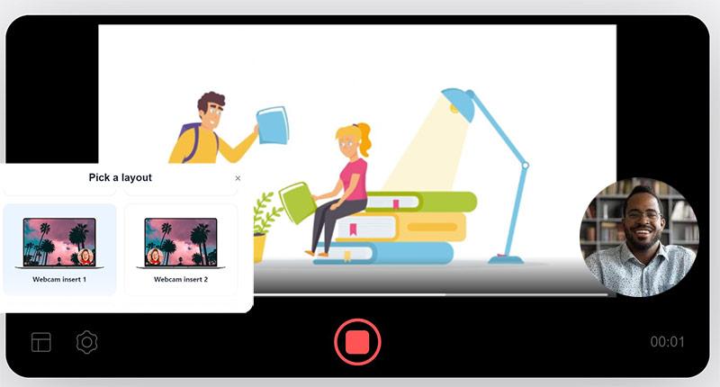 How veed.io records slideshow with webcam