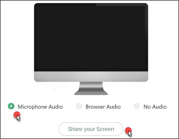 Set audio and share screen