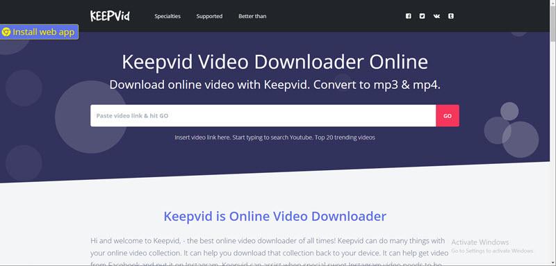 main interface of keepvid