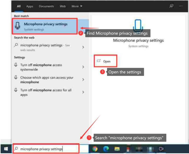 search microphone privacy settings