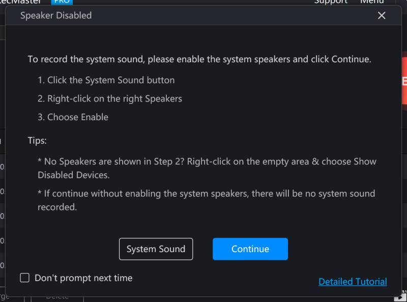 Warining: system speaker disabled - How to Enable Speakers for RecMaster?