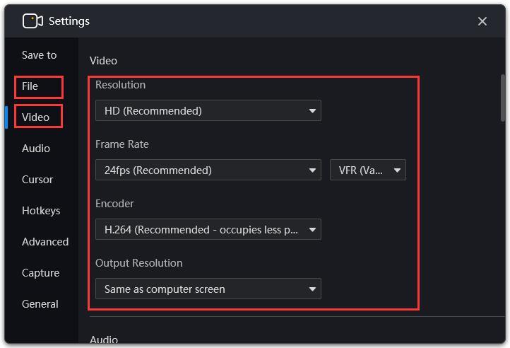 RecMaster video settings