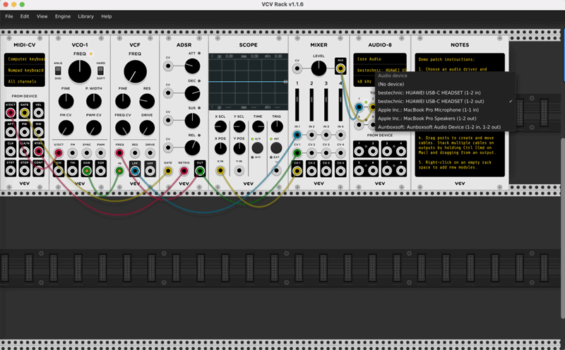 Record The Sound and Screen of VCV Rack step1