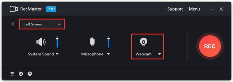 full screen mode webcam