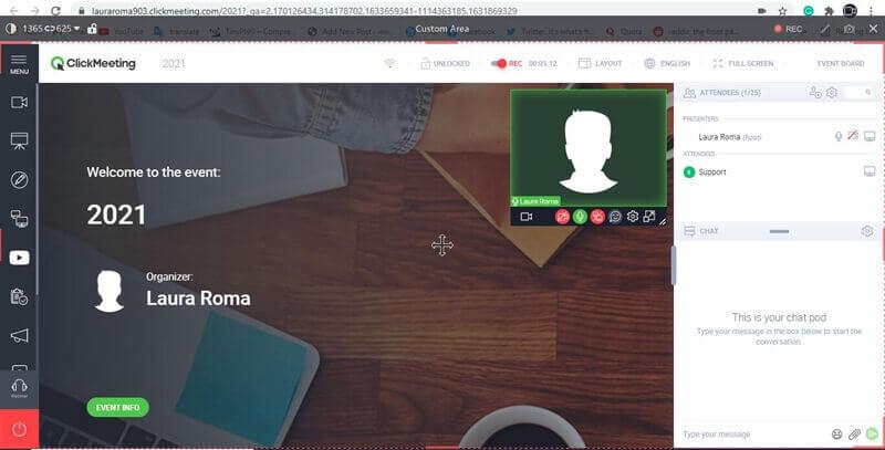 Record a ClickMeeting Webinar step2